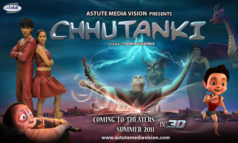 Chhutanki - India's first live cum 3D animated stereoscopic film.